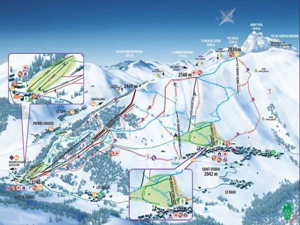 Plan des piste de ski de Molines - Saint-Véran